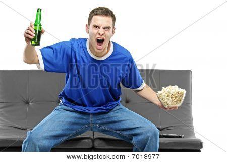 Soccer Fan Watching Football