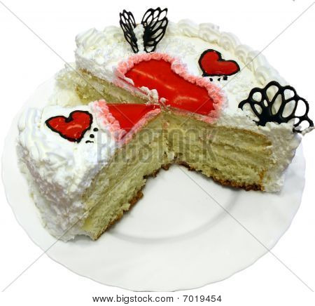 Valentine Day Cake With Jelly Red Hearts Cutted