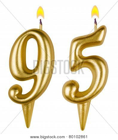 Birthday candles number ninety five isolated on white background poster