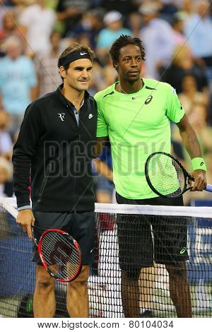 Seventeen times Grand Slam champion Roger Federer and Gael Monfils before match at US Open 2014