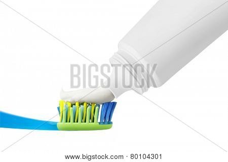 Tooth brush with tooth paste, isolated on white background