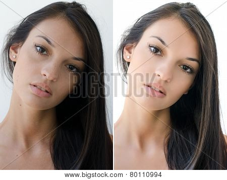 Portrait of a beautiful brunette girl before and after retouching.