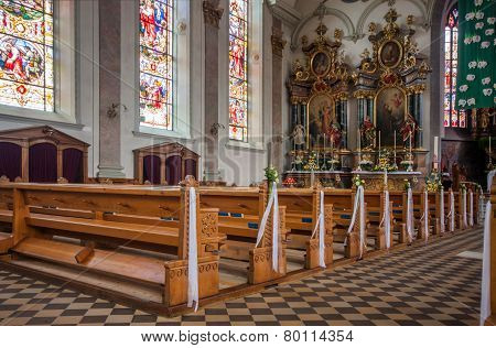 Interior of Roman Catholic parish St. Maurice church in Appenzell