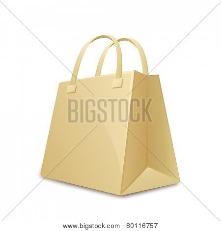 Paper shopping bag. Vector illustration