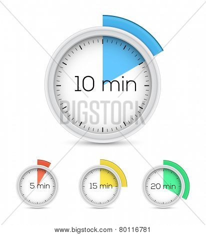 Set of timers - five, ten, fifteen and twenty minutes. Vector illustration