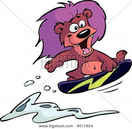 snowboarding lion