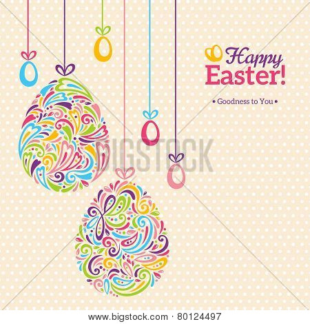 Easter eggs in doodle minimalism style with place for your text.