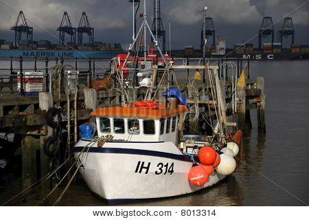 fishing boat at Harwich pier