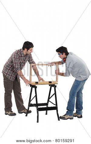 Carpenter and teenage helper