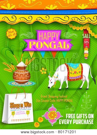 illustration of Happy Pongal greeting and shopping background