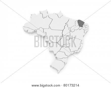 Map of Ceara. Brazil. 3d