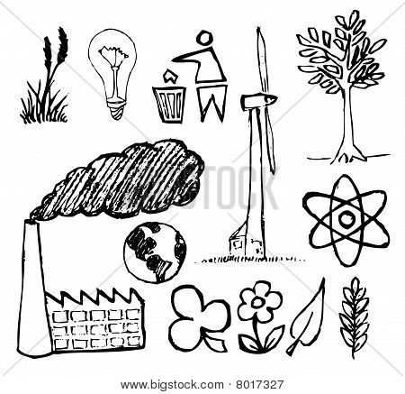 Set of ecology hand-drawn icons - doodles (vector) poster