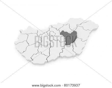 Map of Yas-Nagykun-Szolnok. Hungary. 3d