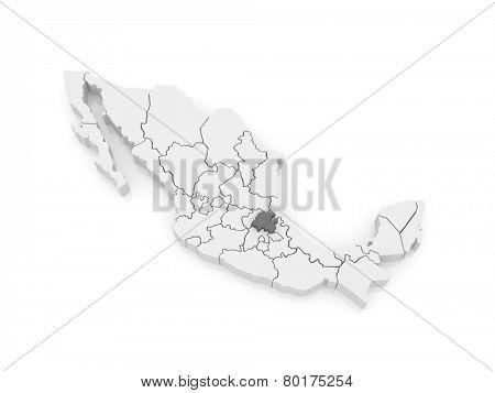 Map of Hidalgo. Mexico. 3d