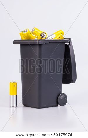 Alkaline Batteries in a bucket isolated on white background poster