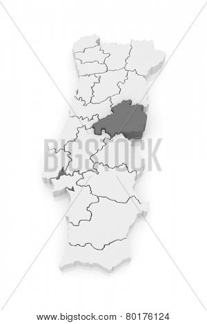 Map of Castelo Branco. Portugal. 3d