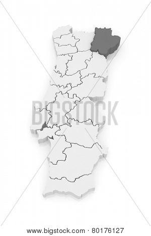 Map of Braganza. Portugal. 3d