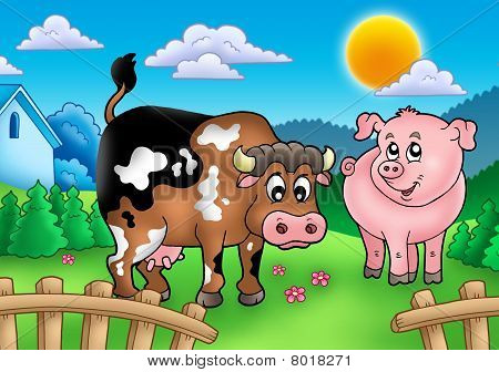Cartoon cow and pig behind fence - color illustration. poster