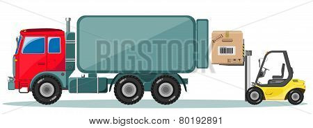 Loader loads the truck in goods. Cargo delivery to the warehouse. vector illustration poster