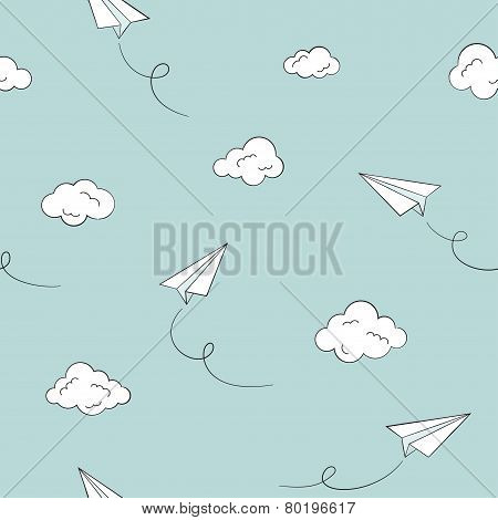 Paper plane seamless background