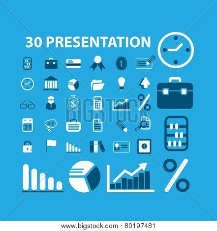 30 flat business, presentation, management, bank icons, signs, illustrations on background, vector set