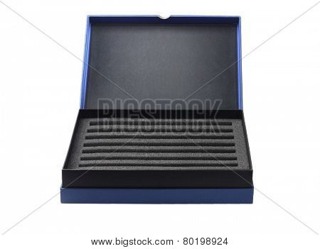 Open Box With Protective Packaging Sponge Foam On White Background