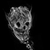 Skull made up of smoke black background poster