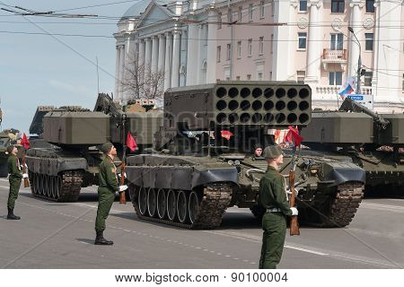 Military Vehicles On Rehearsal Of Military Parade