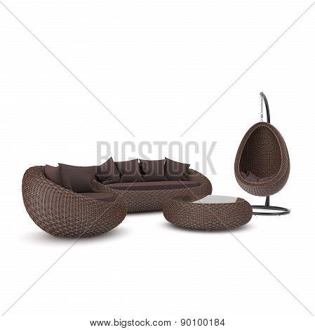 Furniture with rattan