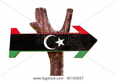 Libya Flag wooden sign isolated on white background