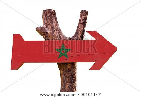 Marocco Flag wooden sign isolated on white background