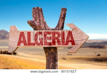 Algeria wooden sign with dry background