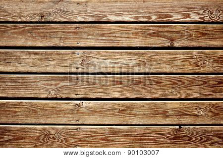 closeup of a surface built of parallel rustic wood slats, to use as a background