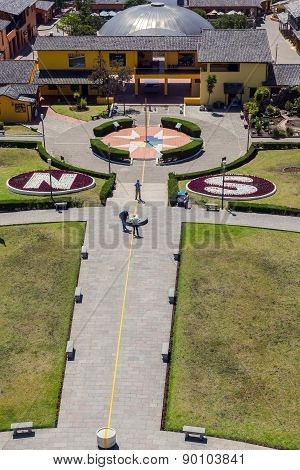 Mitad Del Mundo Village Is The Town Where The Equator Line Crosses, South America