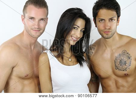 woman happy to be with two sexy men