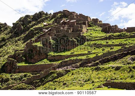 Ruins in the lost city of Pisac - Peru