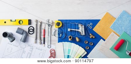 Plumber's work table banner with work tools faucet tiles and color swatches top view poster