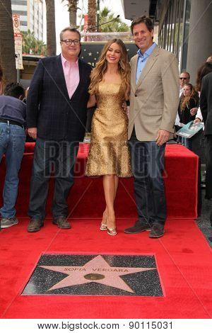 LOS ANGELES - MAY 7:  Eric Stonestreet, Sofia Vergara, Steven Levitan at the Sofia Vergara Hollywood Walk of Fame Ceremony at the Hollywood Blvd on May 7, 2015 in Los Angeles, CA