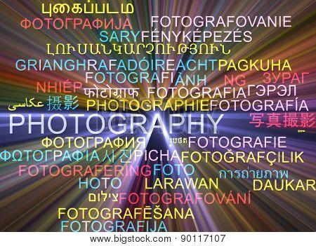 Background concept wordcloud multilanguage international many language illustration of photography glowing light