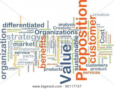 Background concept wordcloud illustration of value proposition