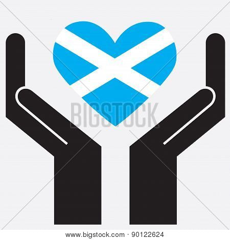 Hand showing Scotland flag in a heart shape. Vector illustration.