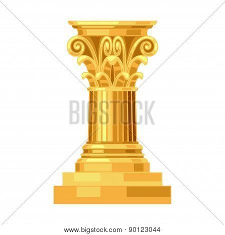 Corinthian realistic antique greek gold column isolated