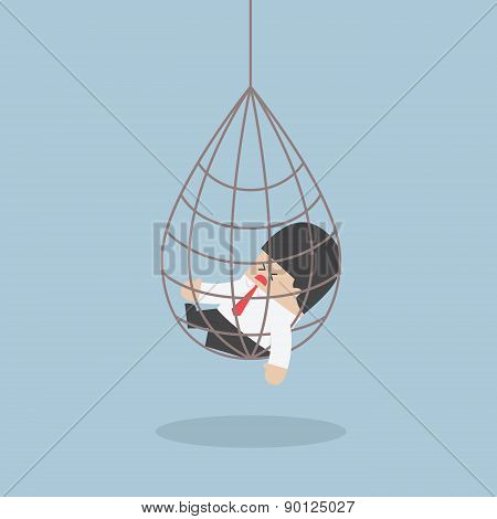 Businessman Caught In A Net Trap