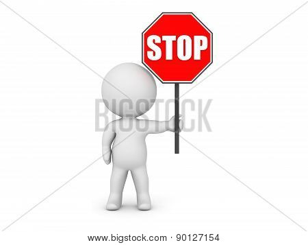 A 3D character holding a red stop sign. Isolated on white background. poster