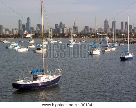 Melbourne Skyline And Boats