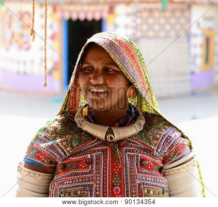 Ethnic Woman In The Traditional Dress From Gujarat