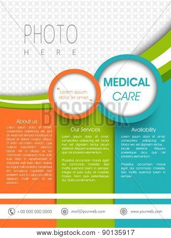 Colorful medical care template, banner or flyer presentation with blank space for images and content.