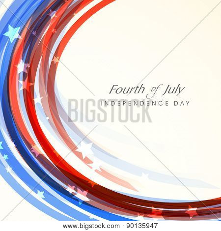 Shiny waves in American national flag colors for Fourth of July, Independence Day celebration. poster