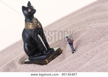 Miniature Tourist With The Egyptian Guardian Bastet Statue
