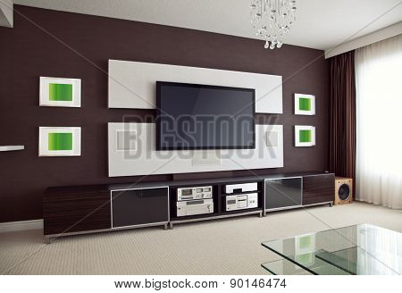 Modern Home Theater Room Interior with Flat Screen TV angled perspective view